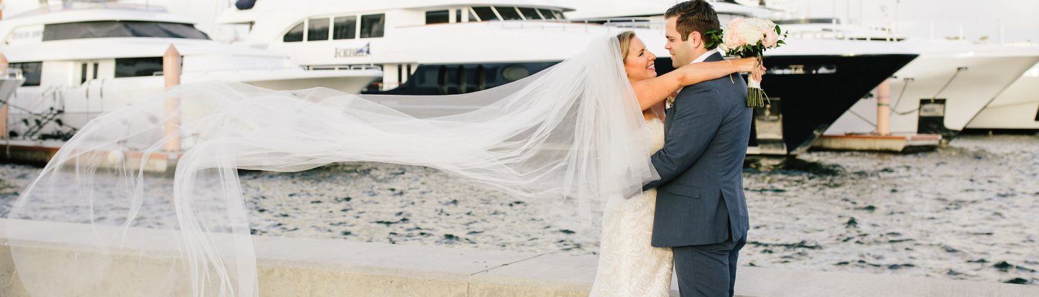 Bride and Groom at West Palm Beach Lake Pavilion